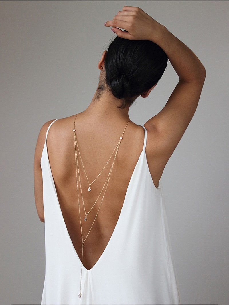 Modern gold bridal necklace strands for backless wedding dresses