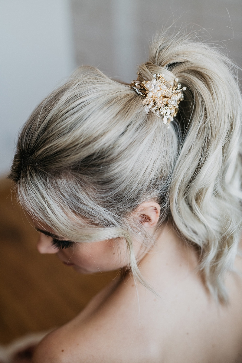 Gold bridal hair vine for wedding day ponytail look