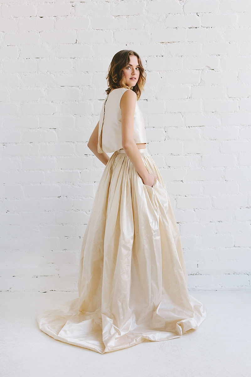 Modern two piece gold silk taffeta wedding dress