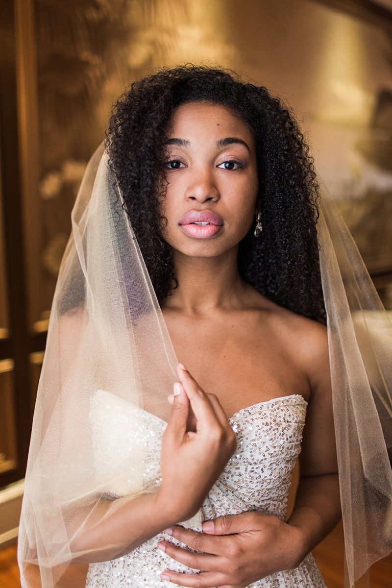 Modern chic gold tulle wedding veil