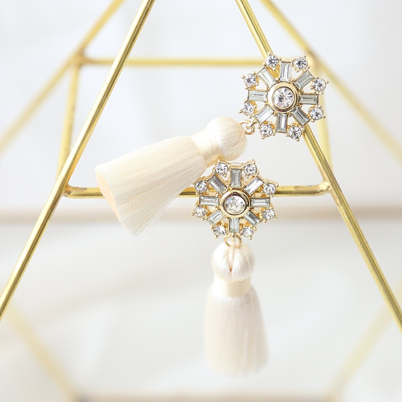 Modern boho gold tassel bridal statement earrings