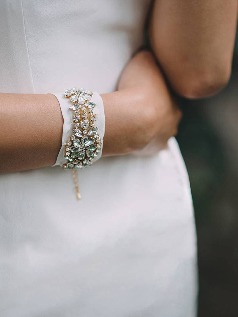 Modern gold and crystal bridal wrist cuff