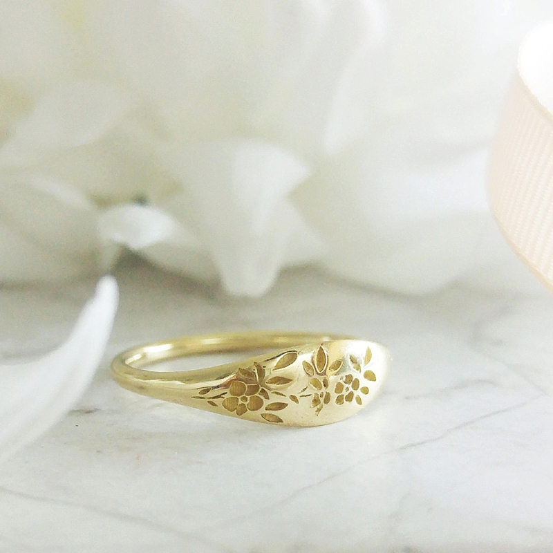 Unique and alternative engraved gold signet wedding ring