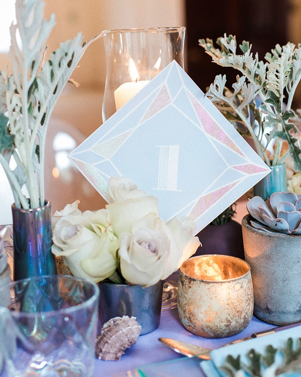 Iridescent mermaid inspired wedding table numbers