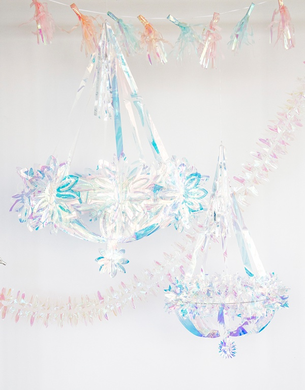 Iridescent bridal party chandeliers