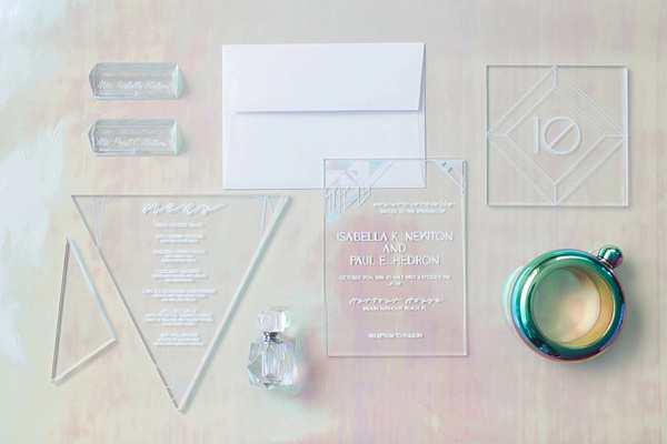 Clear iridescent acrylic wedding invitations