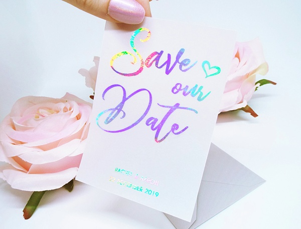 Vellum Save the Card card with iridescent rainbow foil