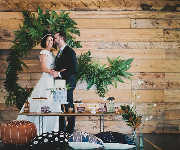 Leather pouf floor seating for boho wedding