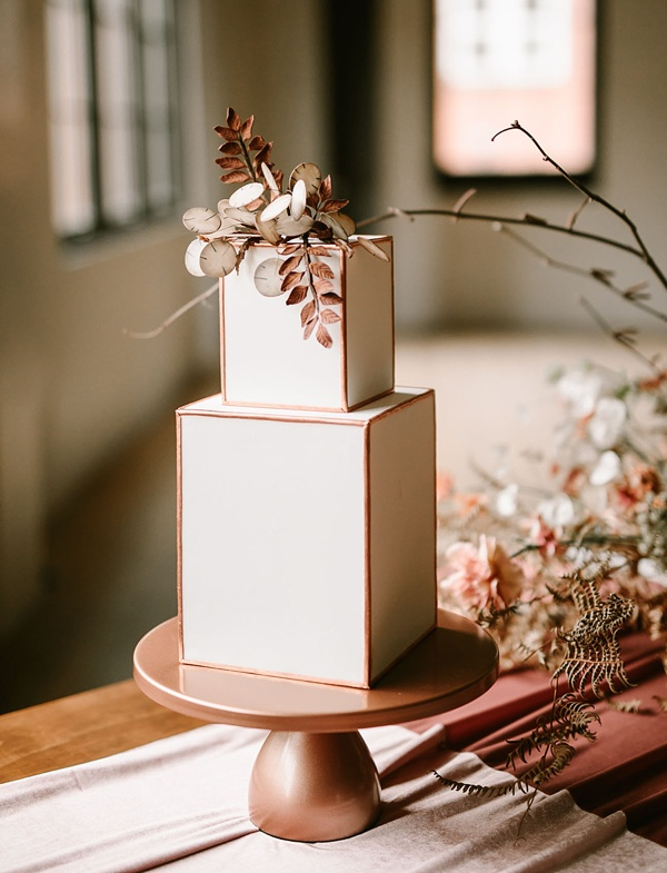 Modern leather inspired wedding cake