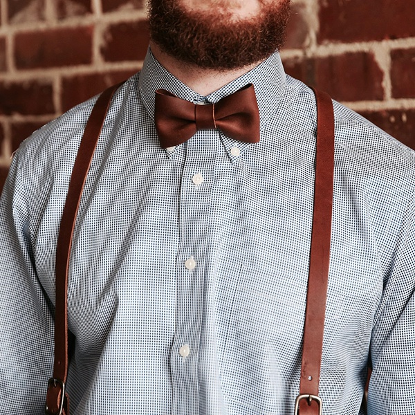 Handsome brown leather bowtie