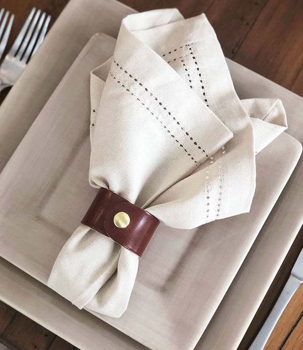 Set of leather napkin rings for rustic wedding
