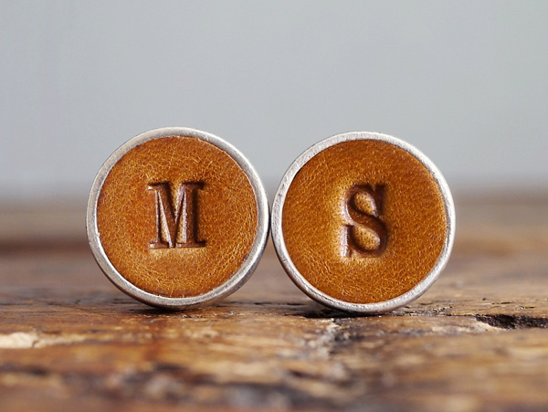 Personalized leather wedding cuff links with monogram