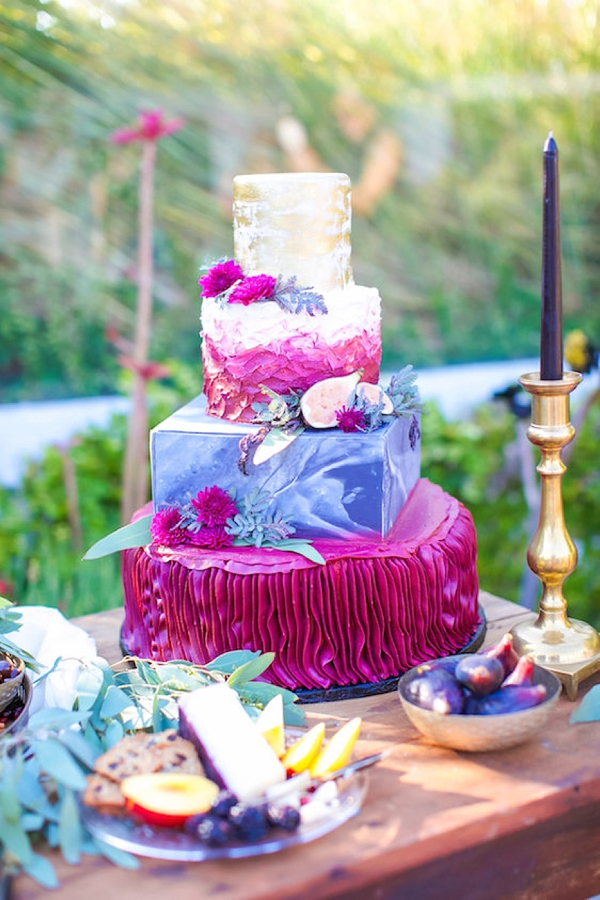 Bright fuchsia and purple multi textured wedding cake