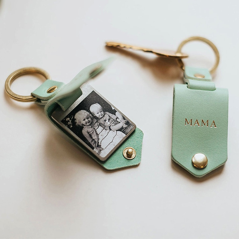 Customized leather Mama keychain with a personal photo for mother of the bride or groom gift