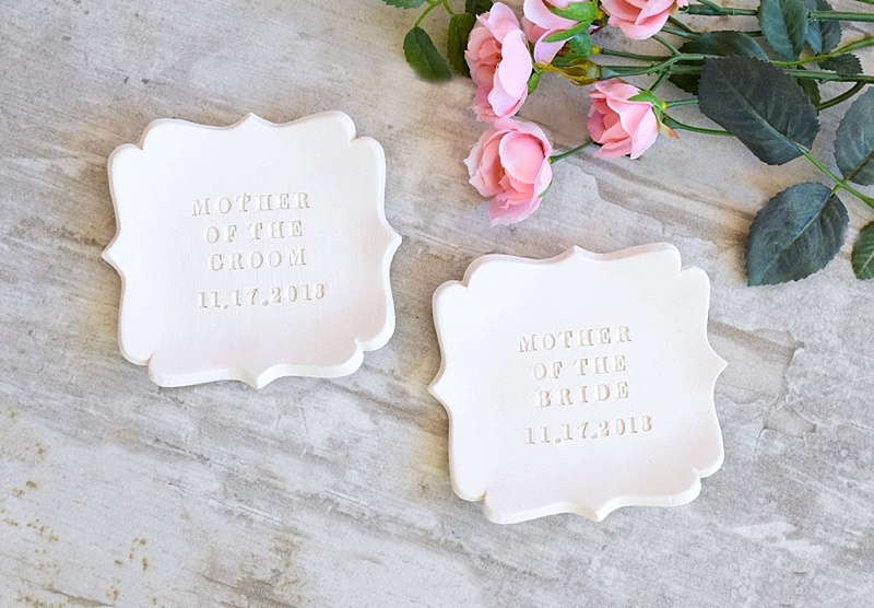 Adorable personalized Mother of the Bride or Groom ceramic trinket ring dish for a wedding day gift
