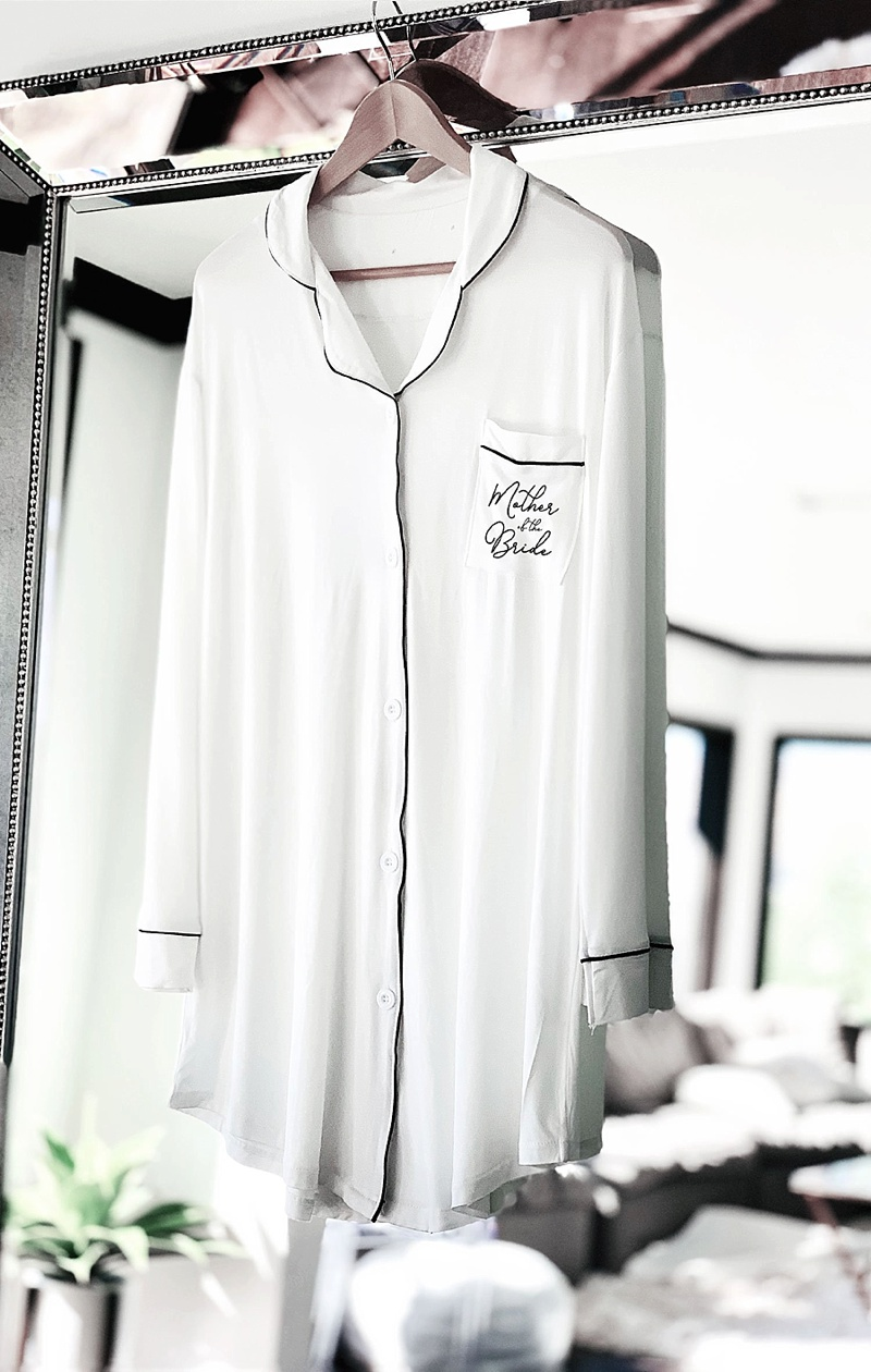 Chic and comfortable long modern pajama shirt for mother of the bride or groom wedding gift