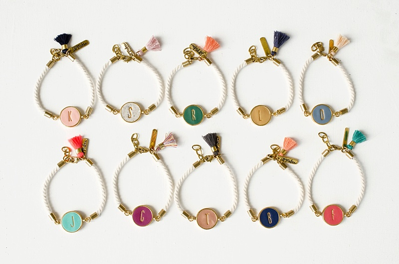 Colorful monogrammed clay bracelet with initial for the artsy mother of the bride or groom wedding day gift