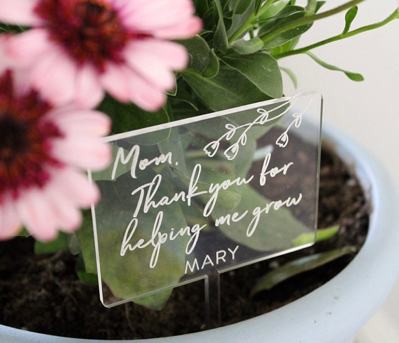 Adorable acrylic flower planter sign for mother of the bride or mother of the groom wedding gift for the gardener
