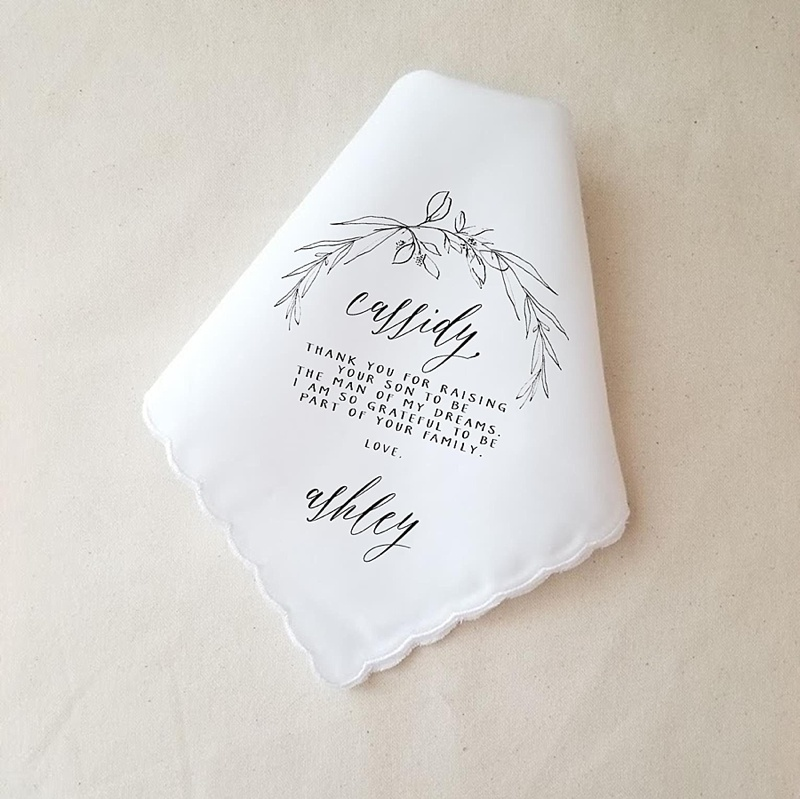 Modern unique personalized wedding handkerchief for Mother of the Bride or Groom for a sweet wedding day gift