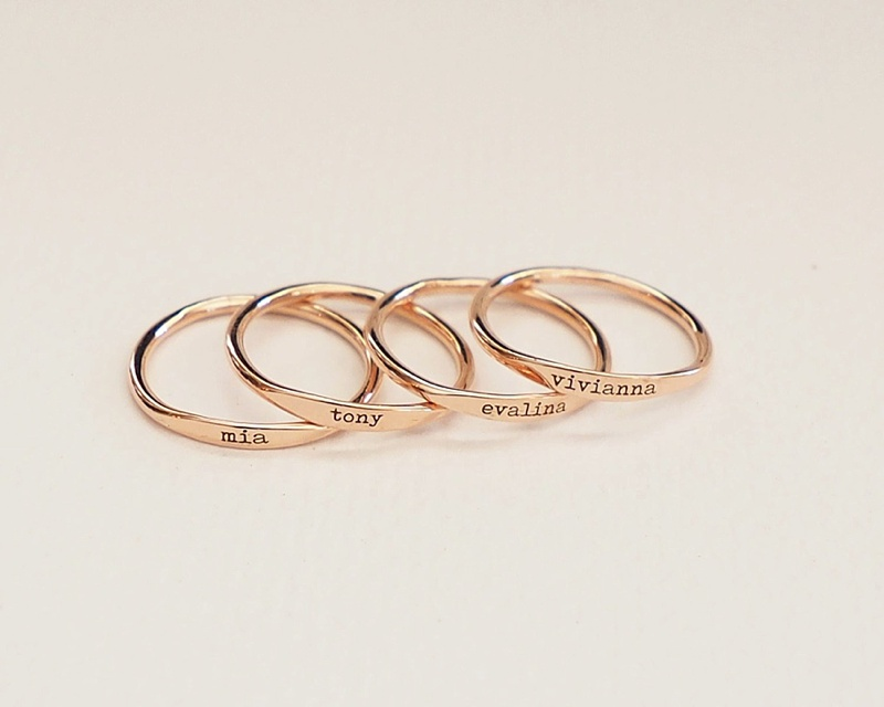 Sweet personalized rose gold stacking rings for mother of the bride or groom gift idea