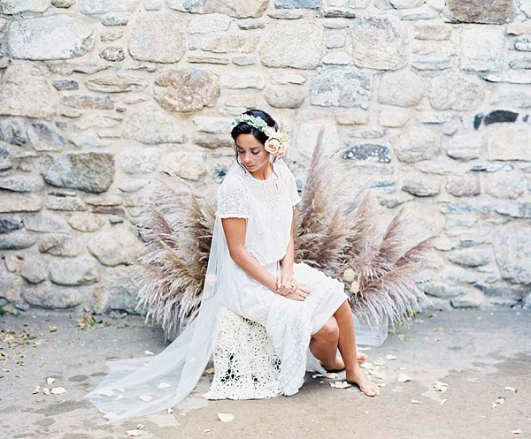 Boho chic pampas grass bridal portrait chair