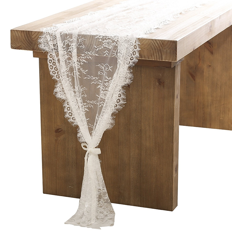Romantic lace table runner for wedding farm tables