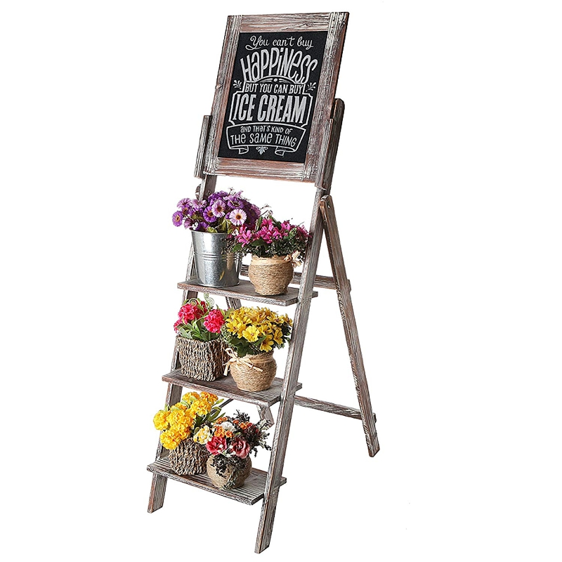 Ladder with a chalkboard sign for rustic wedding decor