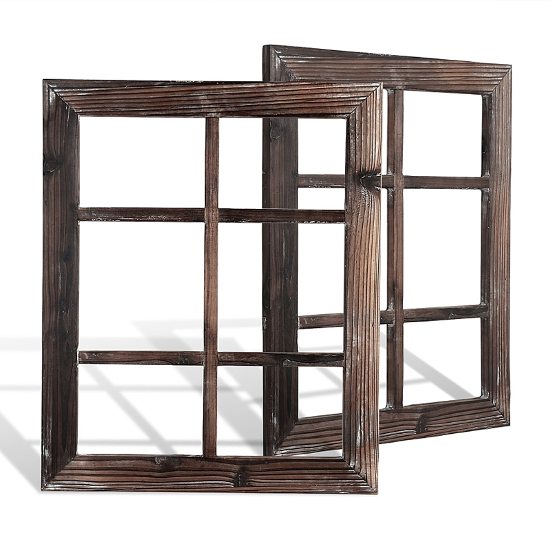 Wooden window frames that could be used for wedding seating charts or reception decor