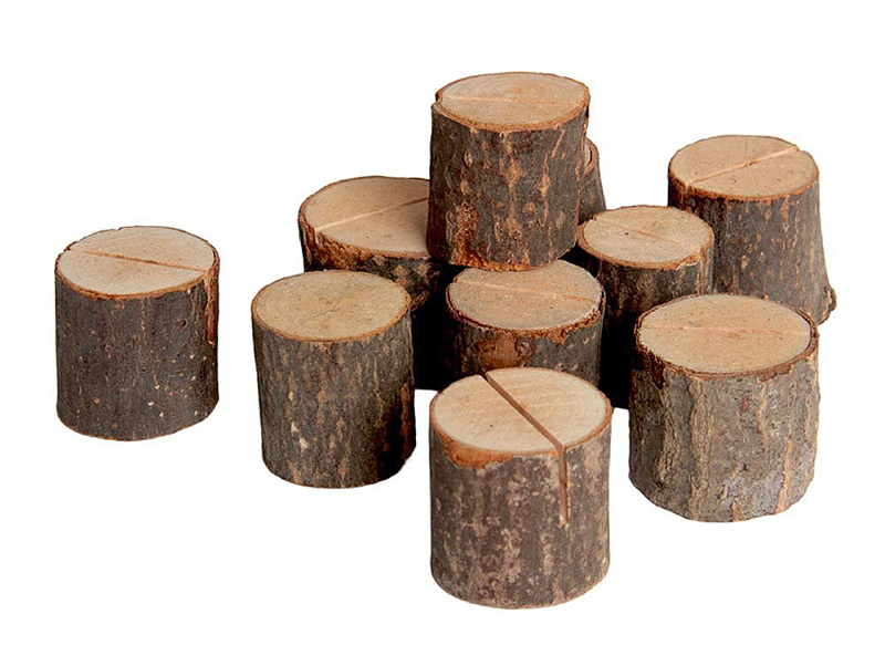 Mini wood stumps for chic rustic wedding place cards