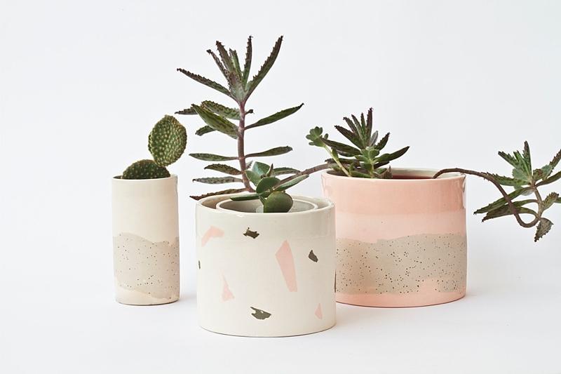 Pink and gray terrazzo wedding centerpiece ideas