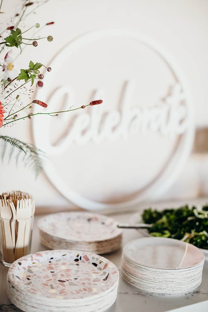 Pink gray and gold modern terrazzo paper plates for wedding cocktail details