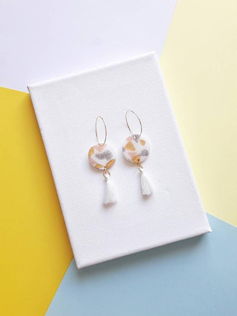 Gold white and pink terrazzo tassel earrings