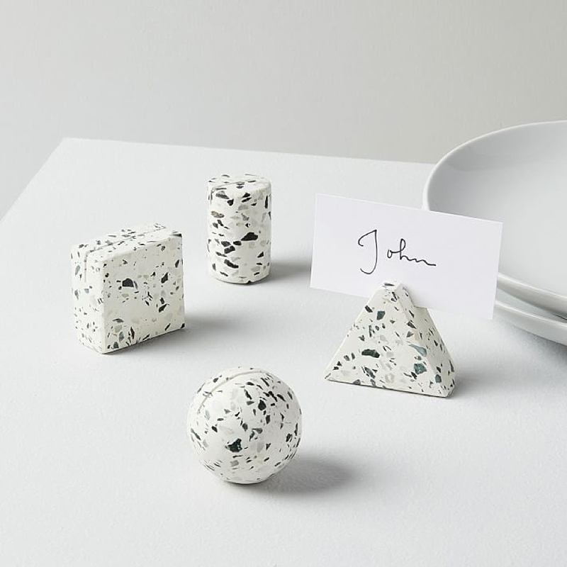 Modern terrazzo wedding place card holders