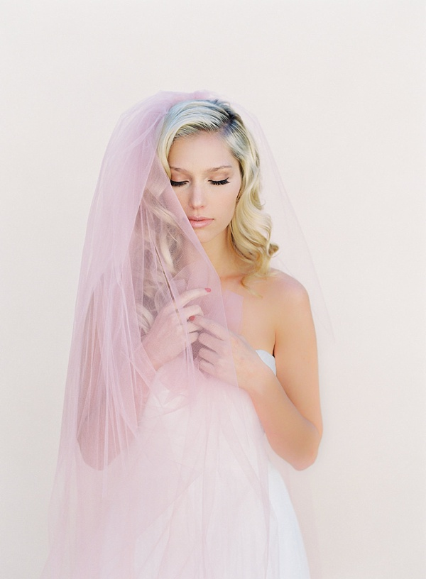 Blush pink bridal veil for Valentines Day wedding