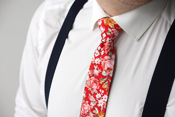Red and pink floral skinny necktie perfect for Valentines Day wedding
