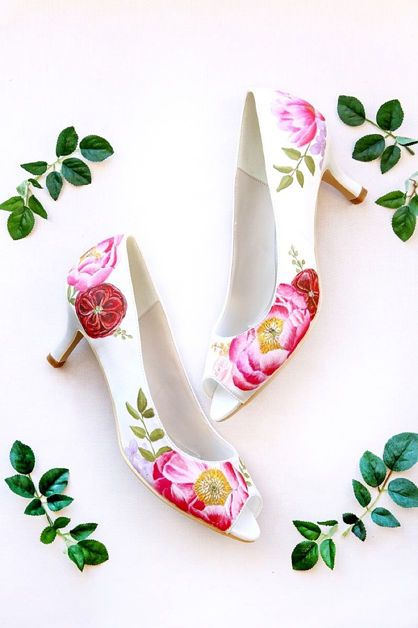 Custom painted pink and red flower bridal shoes