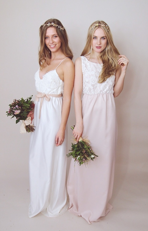 Pink and white lace bridesmaid maxi dresses