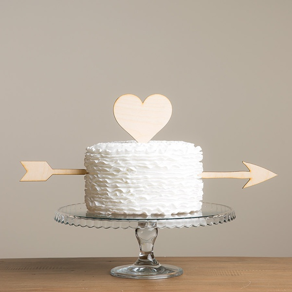 Wooden laser cut heart and arrow cake topper for Valentines Day wedding
