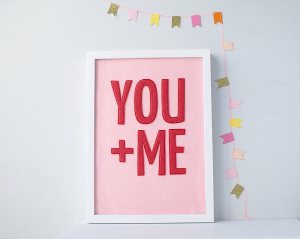 Modern felt you and me wedding sign