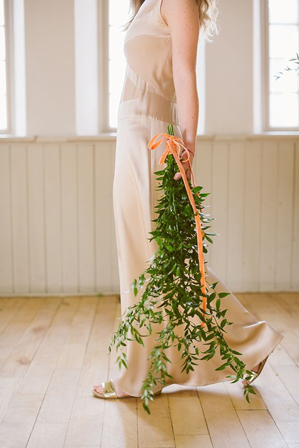 Peach orange velvet wedding bouquet ribbon