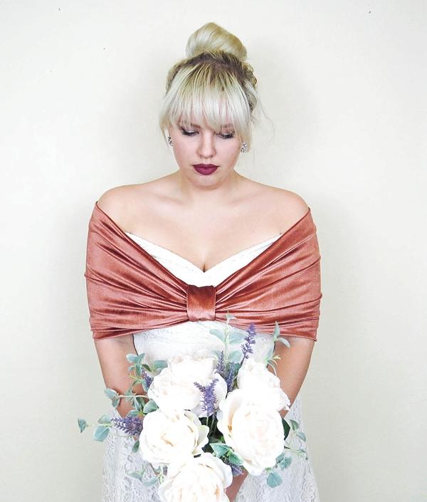 Copper rose velvet bridesmaid shawl