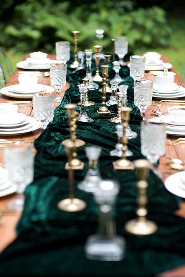 Emerald green velvet wedding table runner