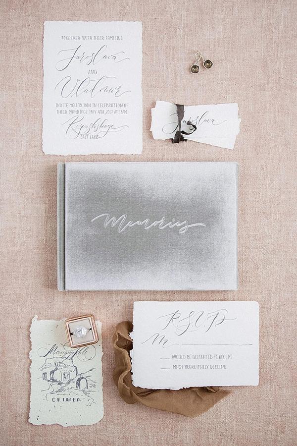 Light gray velvet wedding guestbook