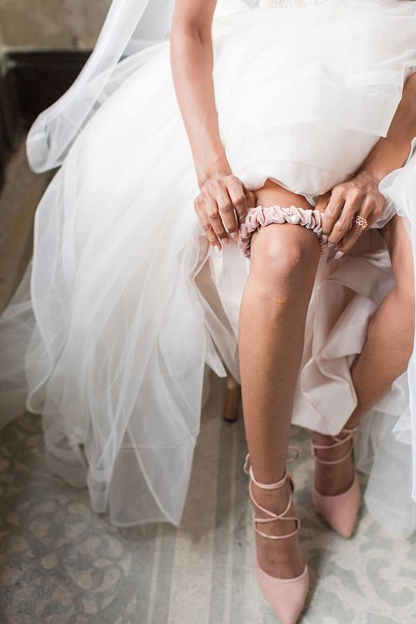 Pink velvet wedding bridal garter