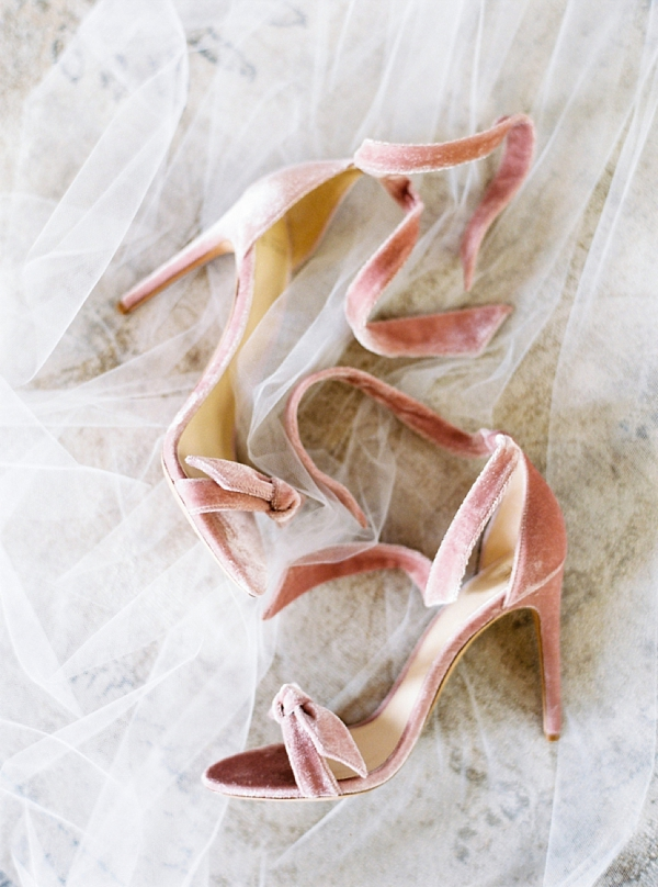 Soft pink velvet wedding heels