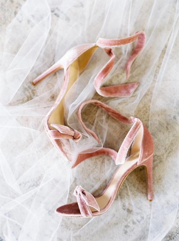 Soft pink velvet wedding heels