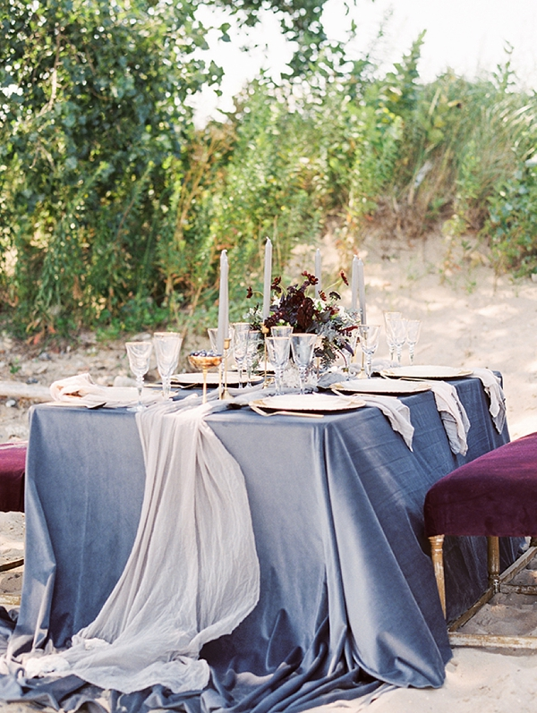 Steel gray wedding tablecloth