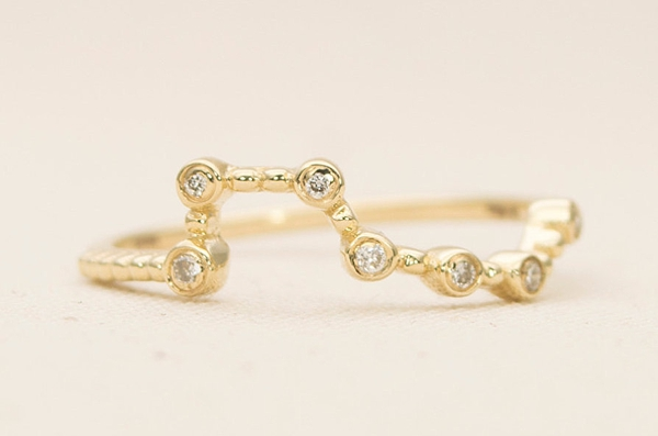 Gold Big Dipper wedding band with diamonds