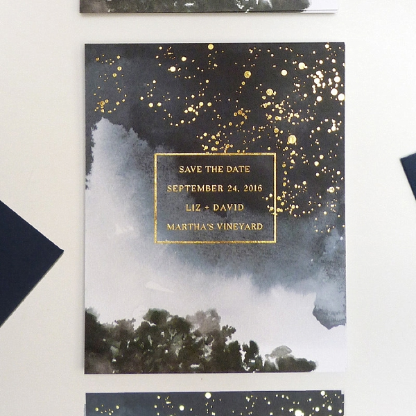 Starry night inspired wedding save the date with gold foil