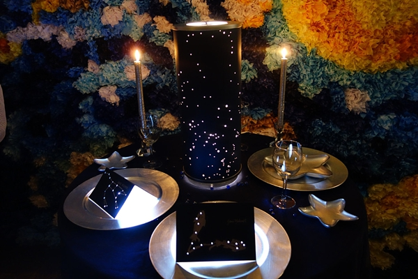 Illuminated constellation wedding reception centerpiece with custom stars